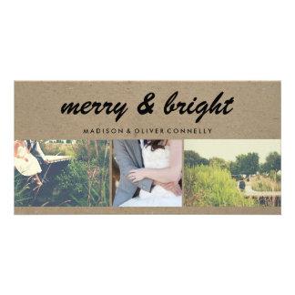 Merry & Bright Kraft Paper Three Photo Collage Photo Greeting Card