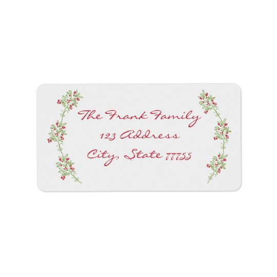 Merry & Bright Mistletoe Christmas Address Label