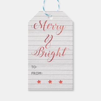 Merry Bright Modern Calligraphy Red Bokeh Gift Tags