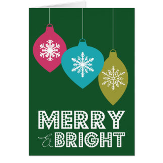 MERRY BRIGHT ORNAMENTS FOLDED HOLIDAY CARD