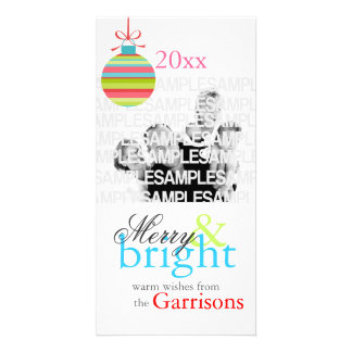 """""""Merry & Bright"""" Personalized Christmas Card Picture Card"""