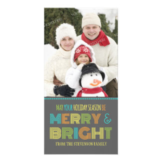 Merry & Bright Photo Card Colorful Christmas