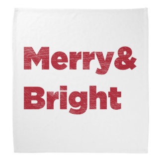 Merry& Bright Red Christmas Text Bandana