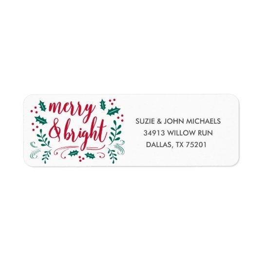 Merry & Bright Return Address Label