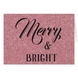 Merry & Bright Rose Gold Glitter Christmas Card