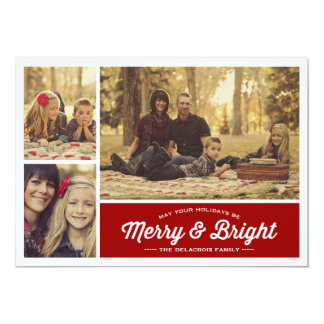 Merry & Bright Ruby 3 Photo Holiday Greeting Card