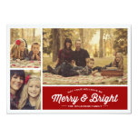 "Merry & Bright Ruby 3 Photo Holiday Greeting 5"" X 7"" Invitation Card"