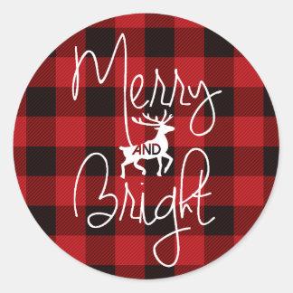 Merry & Bright   Rustic Plaid Classic Round Sticker