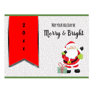 Merry & Bright Santa with Year Postcard