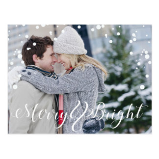Merry & Bright Snow Christmas Postcard