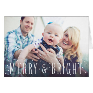 Merry & Bright Snow | Folded Holiday Greeting Card
