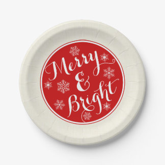 Merry & Bright Snowflake Paper Plates 7 Inch Paper Plate