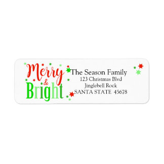 Merry & Bright stars holiday label