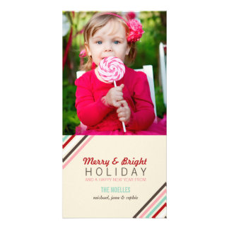 Merry & Bright Stripes Colorful Holiday Photo Card