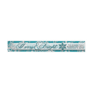 Merry & Bright • Teal Snowflakes • Modern • Classy Wrap Around Label