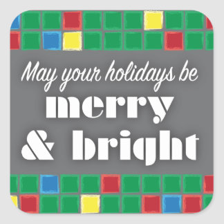 Merry & Bright Tiled Square Sticker