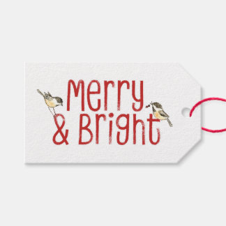 Merry & Bright Typography Gift Tags