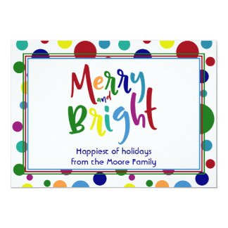 Merry & Bright w/ Colorful Letters & Circles, 3 Card
