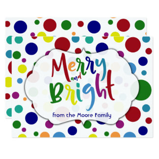 Merry & Bright with Colorful Words and Circles, 2 Card