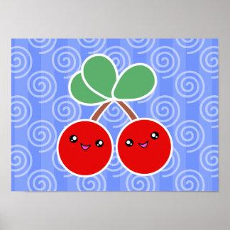 Merry Cherries Kawaii Poster
