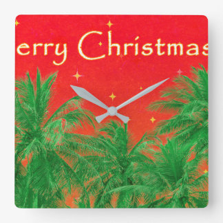 Merry Chirstmas Design Square Wall Clock