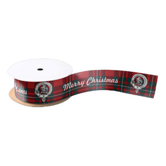 Merry Chrismas MacGregor Tartan 2 yd Clan Badge Satin Ribbon
