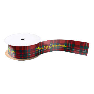 Merry Chrismas MacGregor Tartan Satin Ribbon