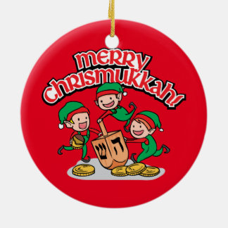 Merry Chrismukkah with Elves and Dreidels Ceramic Ornament