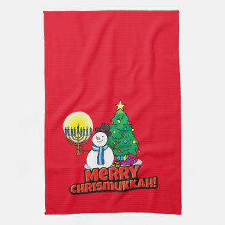 Merry Chrismukkah with Snowman and Menorah Kitchen Towel