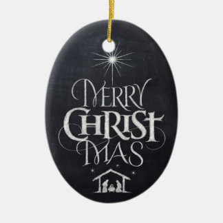 Merry Christ Mas Christian Christmas Black Chalk Ceramic Oval Ornament