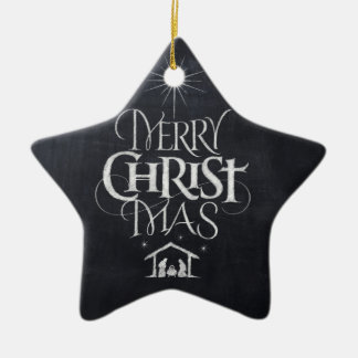 Merry Christ Mas Religious Christmas Chalk Star Ceramic Star Ornament