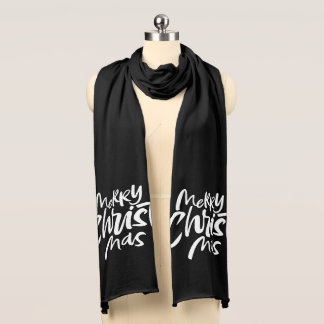 Merry Christian Christmas Lettering Religious Scarf
