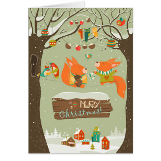 merry christma Illustration card foxes