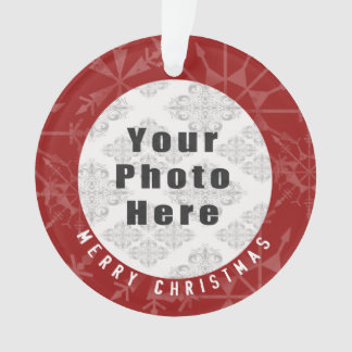 Merry Christmas 1 Photo Red Snowflake / Text Ornament