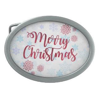 Merry Christmas 2 Oval Belt Buckle