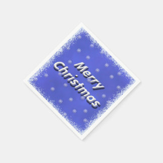 Merry Christmas 3D Frosty Paper Napkin
