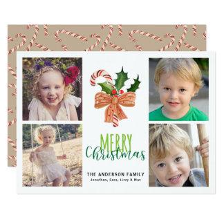 Merry Christmas 4 Photos Watercolor Candy Cane Card