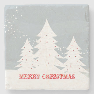 Merry Christmas Abstract White Christmas Trees Stone Coaster