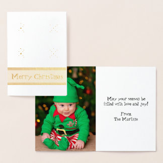 Merry Christmas Add Your Photo 2 Foil Card