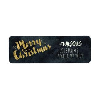 Merry Christmas Address Labels - Black & Gold