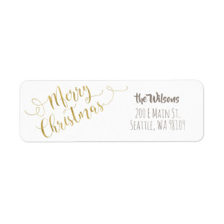 Merry Christmas Address Labels - White & Gold