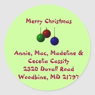 Merry Christmas address sticker
