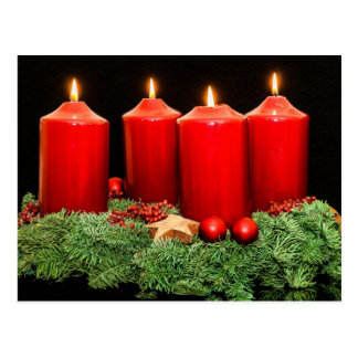 Merry christmas advent wreath postcard