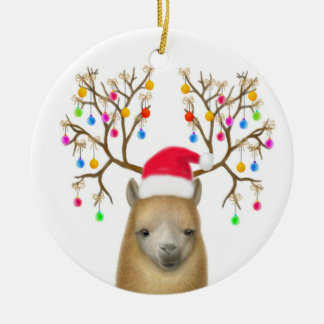 Merry Christmas Alpaca Ornament