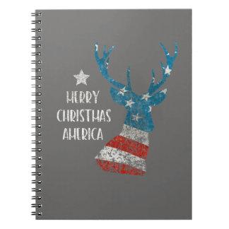 Merry Christmas America. Reindeer Flag. Distressed Notebook