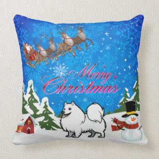 Merry Christmas American Eskimo Dog Throw Pillow