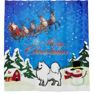 Merry Christmas American Eskimo Dog With Santa