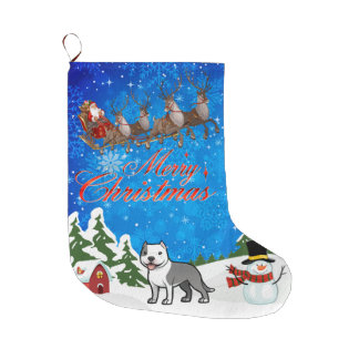 Merry Christmas American Staffordshire Terrier Large Christmas Stocking