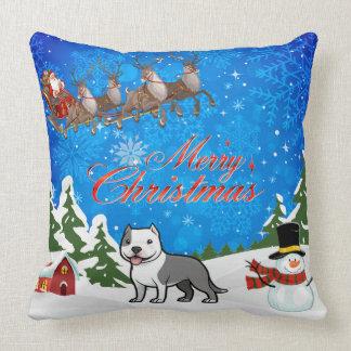Merry Christmas American Staffordshire Terrier Throw Pillow