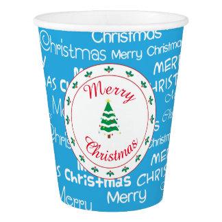 Merry Christmas and Christmas Tree Paper Cup